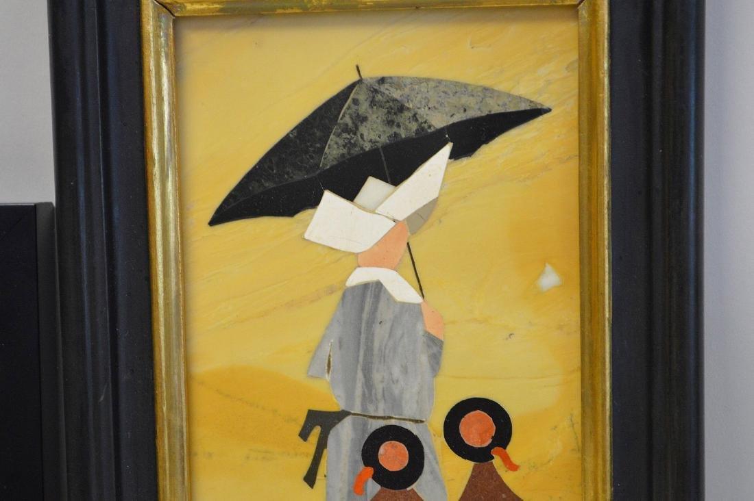 2 PIETRA DURA PLAQUES.  1 Plaque depicting a nun and - 5