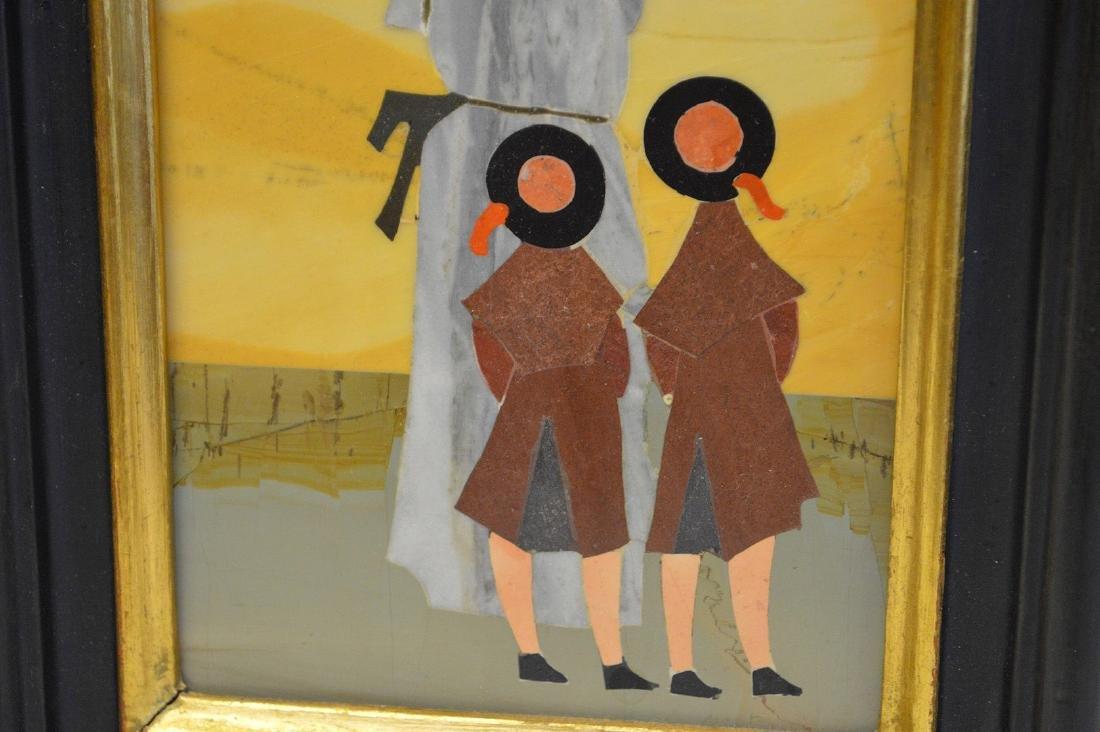 2 PIETRA DURA PLAQUES.  1 Plaque depicting a nun and - 6