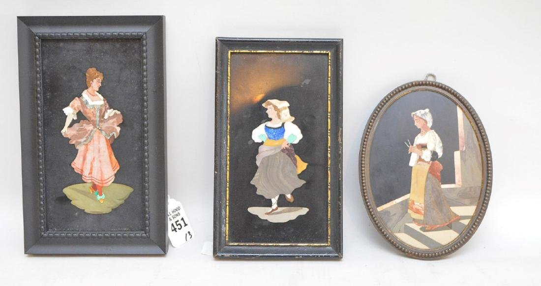 3 PIETRA DURA PLAQUES.  1 Plaque depicting a dancing