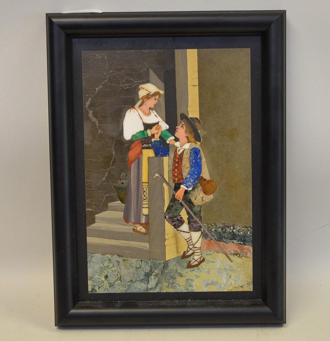 PIETRA DURA PLAQUE - Depicting a young romantic couple.
