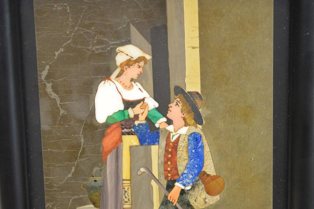 PIETRA DURA PLAQUE - Depicting a young romantic couple. - 2