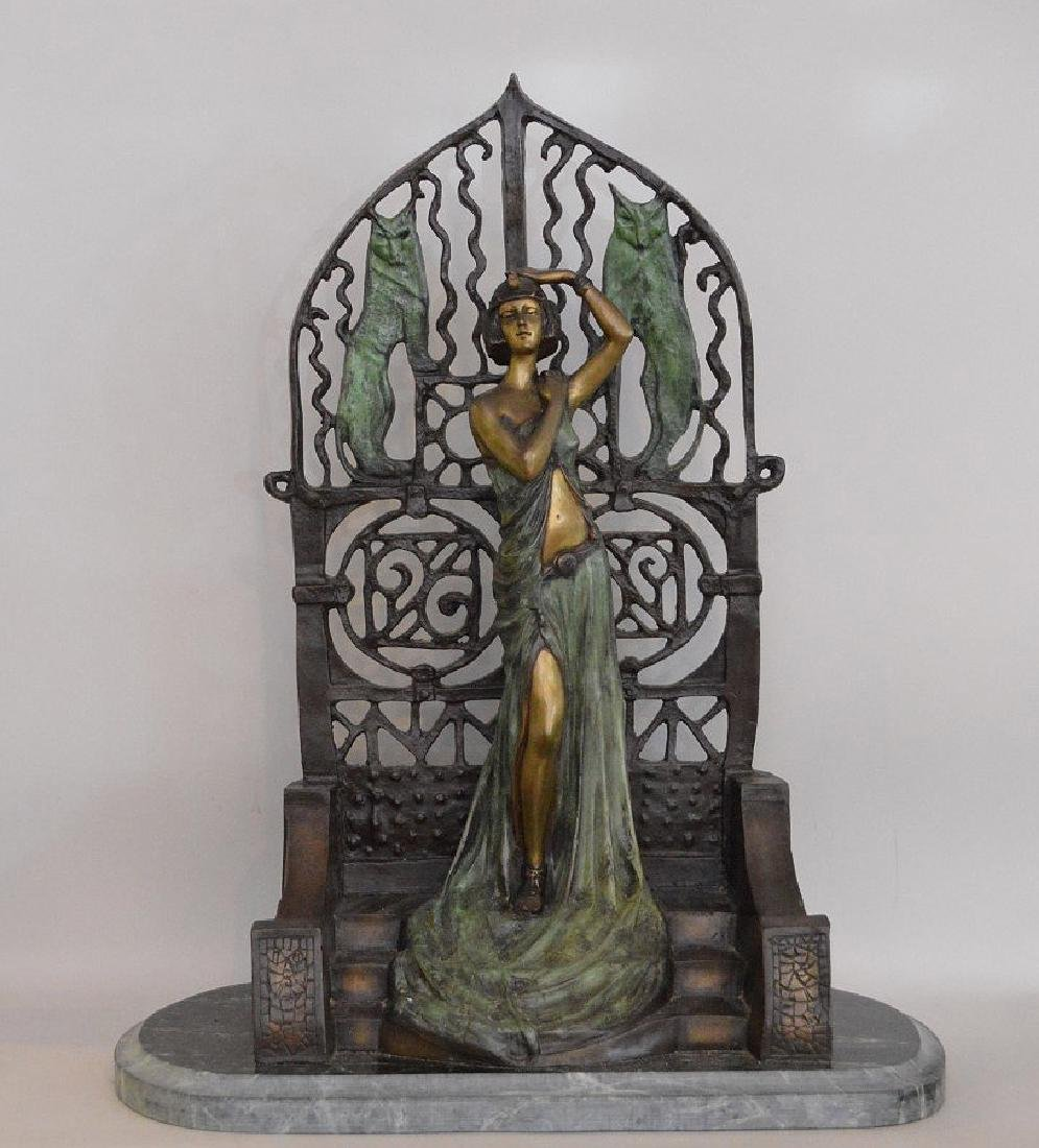 FIGURAL FRENCH PATINATED BRONZE SCULPTURE depicting a