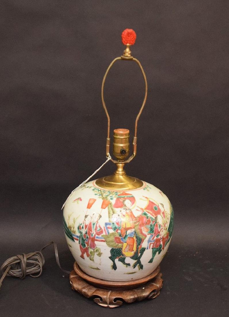 CHINESE PORCELAIN LAMP with cinnabar finial.