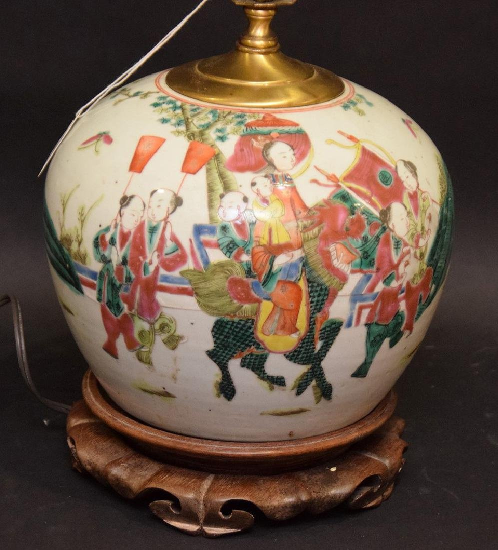 CHINESE PORCELAIN LAMP with cinnabar finial. - 2