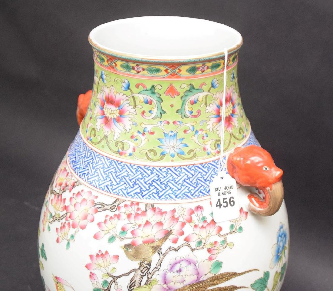 CHINESE FAMILLE ROSE porcelain vase with birds in - 3