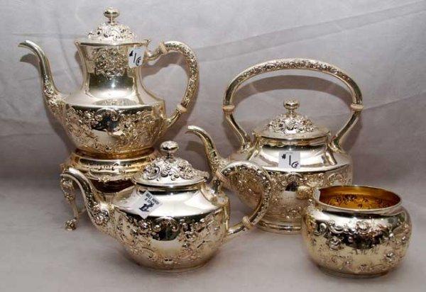 2001: American Gorham 1899 sterling five piece Tea set