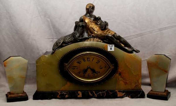2008: French Deco marble figural clock, garniture is fe