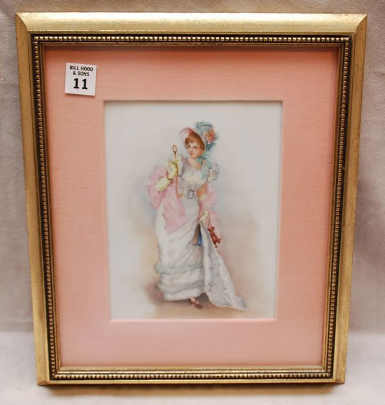 """2011: Framed painting on porcelain plaque, painting 8""""h"""