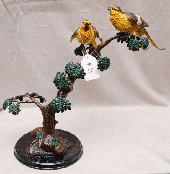 2015: Poly chrome bronze,  two birds on tree trunk, mar