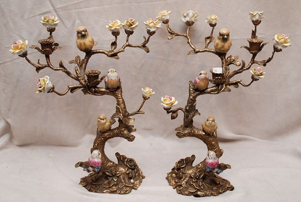 2018A: Pair of bronze & porcelain candelabra depicting