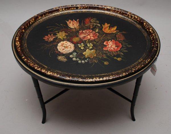 2200F: Paint decorated floral papier mache' oval table