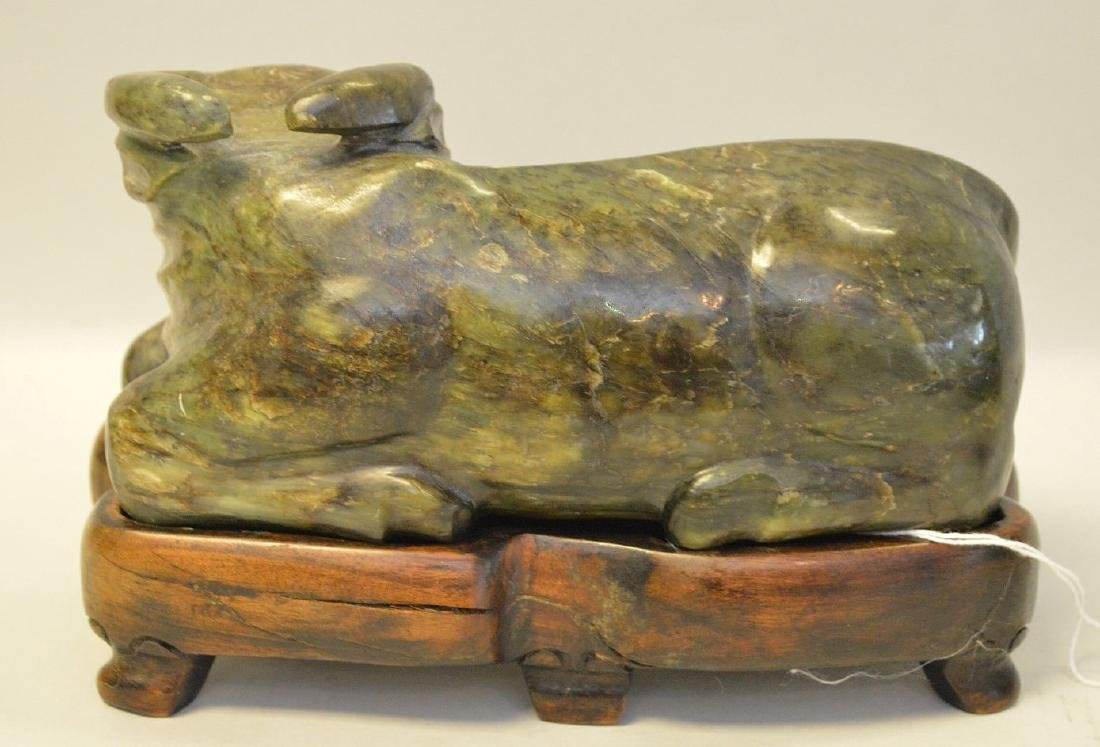 LARGE CARVED JADE WATER BUFFALO resting on a cusotm - 3