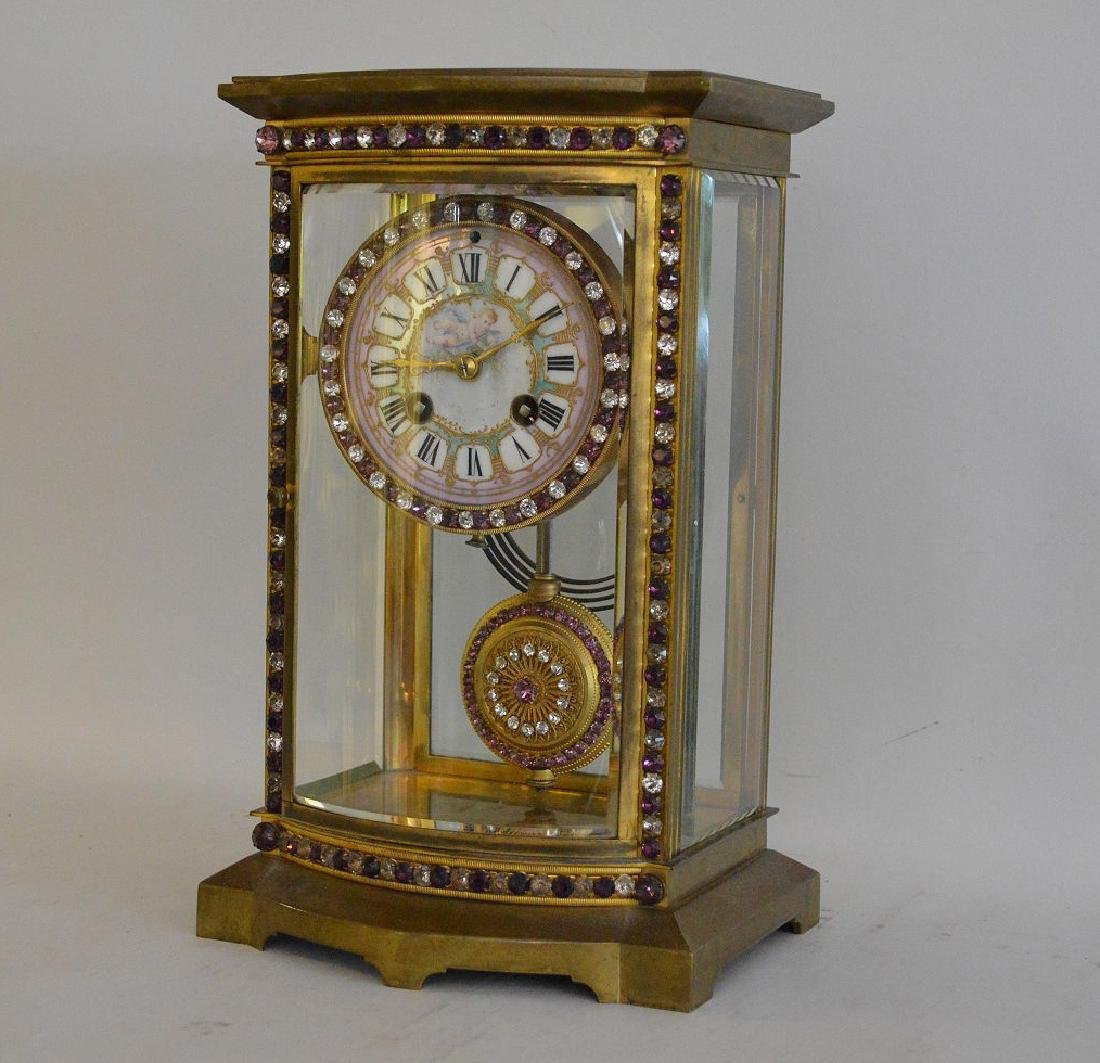 ANTIQUE FRENCH BRONZE & CRYSTAL REGULATOR CLOCK with