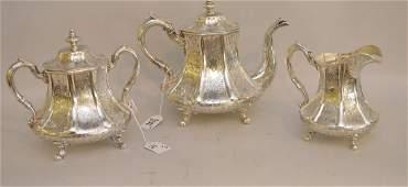 Three Piece Gerardus Boyce Coin Silver Tea Service New