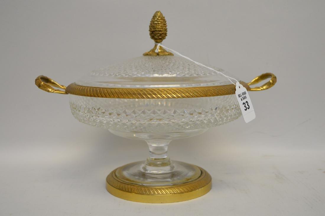 FRENCH CRYSTAL & GILT METAL CENTERBOWL & COVER.