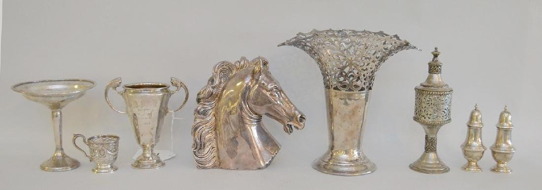 """Sterling silver horse head (weighted) (7""""h), sterling"""