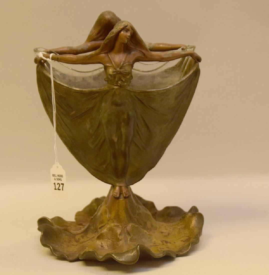 ART NOUVEAU FIGURAL PATINATED METAL VASE.  The figural
