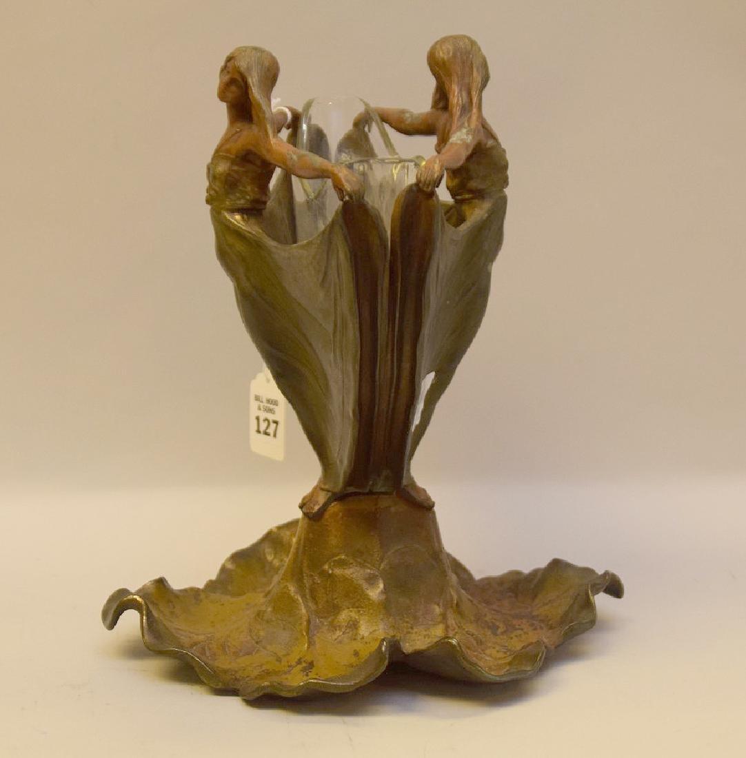 ART NOUVEAU FIGURAL PATINATED METAL VASE.  The figural - 2