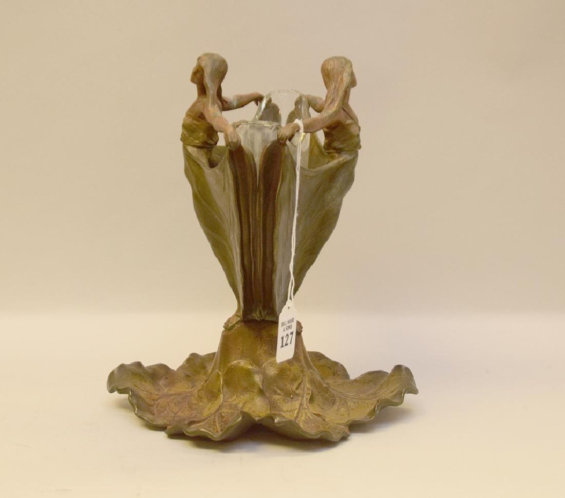 ART NOUVEAU FIGURAL PATINATED METAL VASE.  The figural - 4