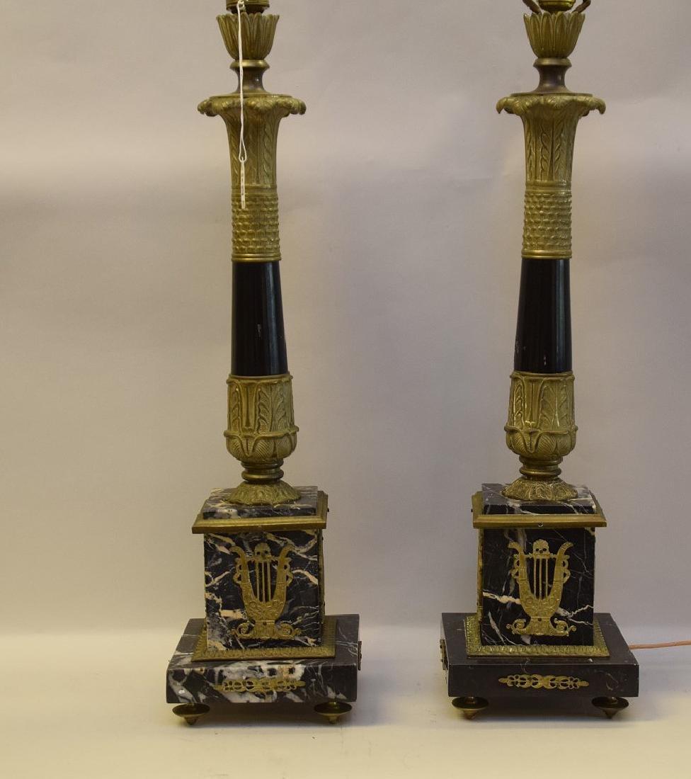 PAIR GILT BRONZE & MARBLE LAMPS.  Condition: no damage.