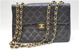 Chanel lambskin black caviar quilted double strap