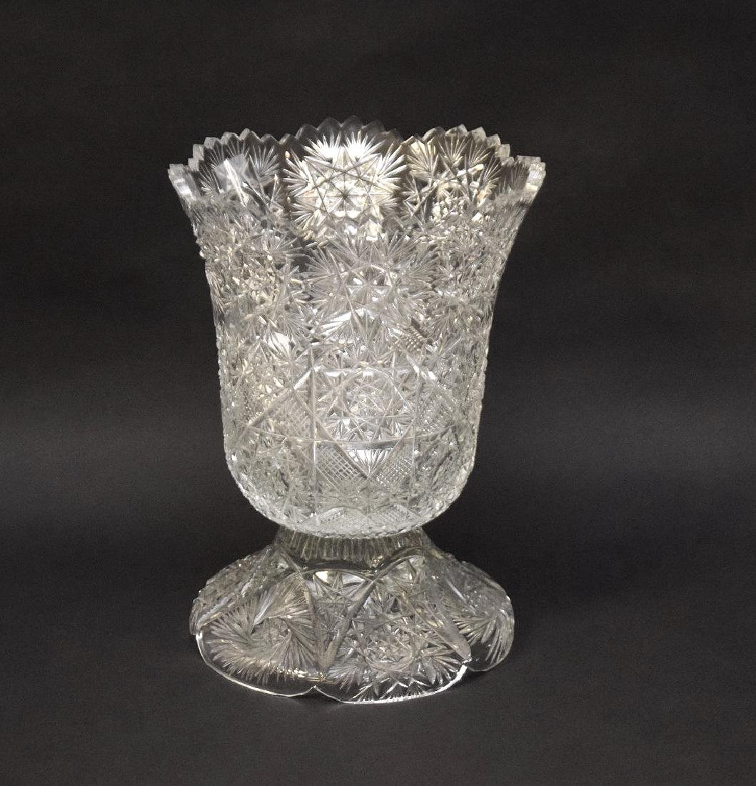 LARGE CUT GLASS VASE.  Condition: good with minor under