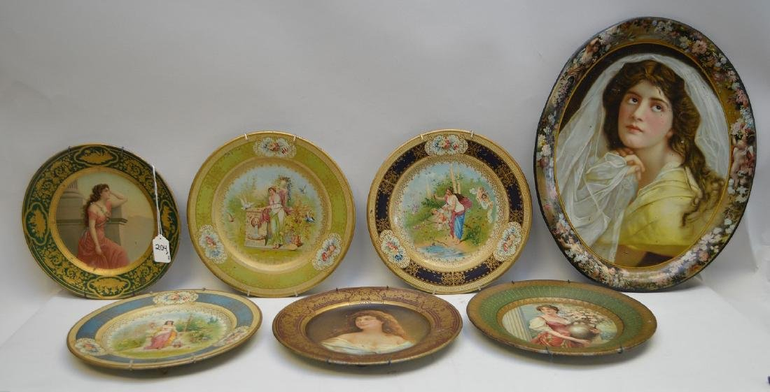 6 VIENNA METAL ART PLATES.  Together with a Vienna