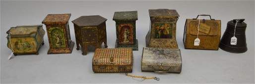 9 ANTIQUE ENGLISH BISCUIT TINS 7 Huntley  Palmers 1