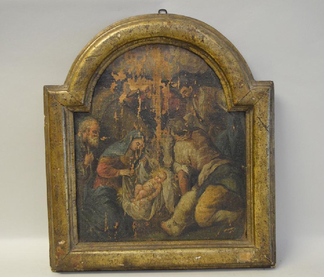 "Oil on canvas Icon, Jesus & Mary, 16"" x 17 1/2"""