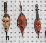 3 vintage African Ivory Coast hand carved wood masks,