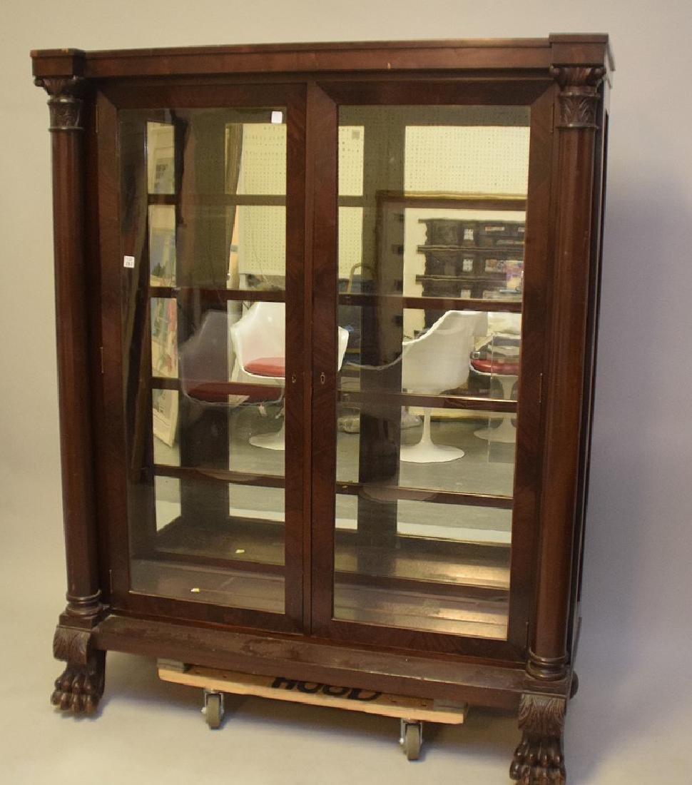 Mahogany circa 1890's 2 door bookcase with mirrored - 2