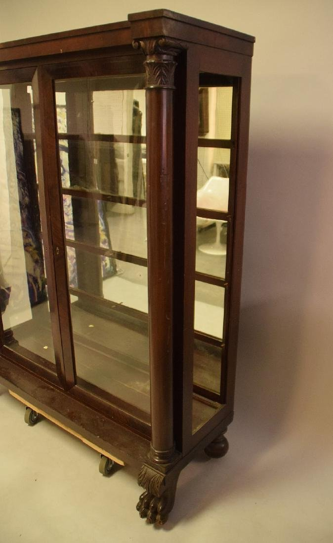 Mahogany circa 1890's 2 door bookcase with mirrored - 3