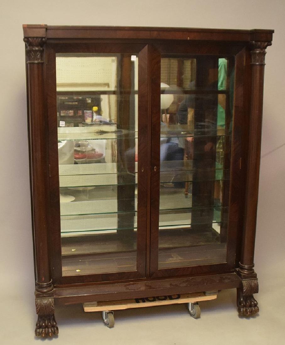 Mahogany circa 1890's 2 door bookcase with mirrored - 4