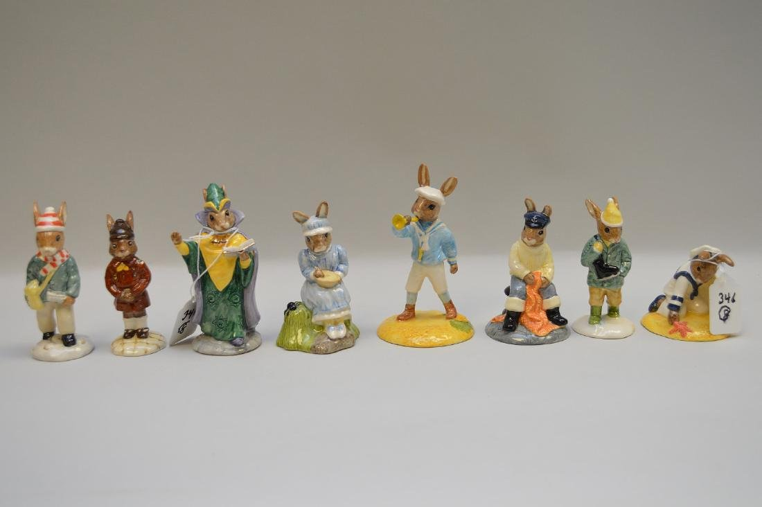 "8 Royal Doulton Bunnykins, tallest is 4 1/2""h"