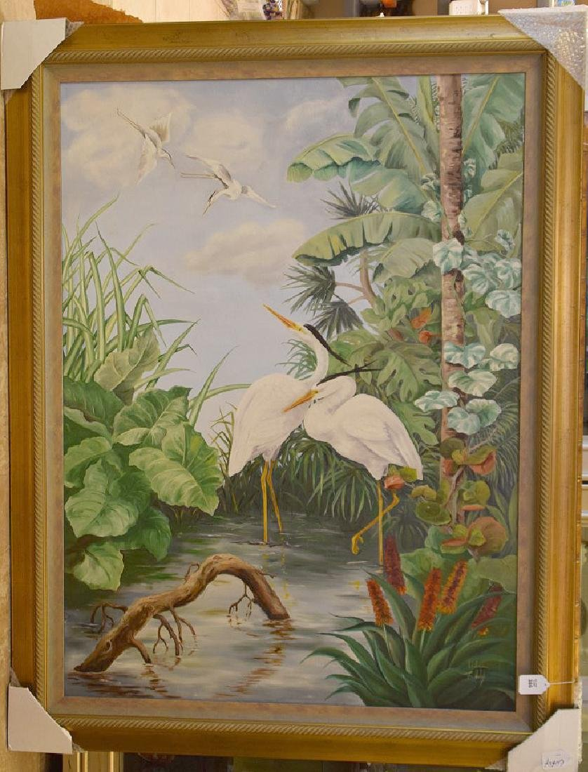 Lg. Florida painting by Ethel T. Welch oil on canvas,