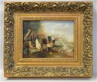 English school 20th Century Farm Scene with roosters,