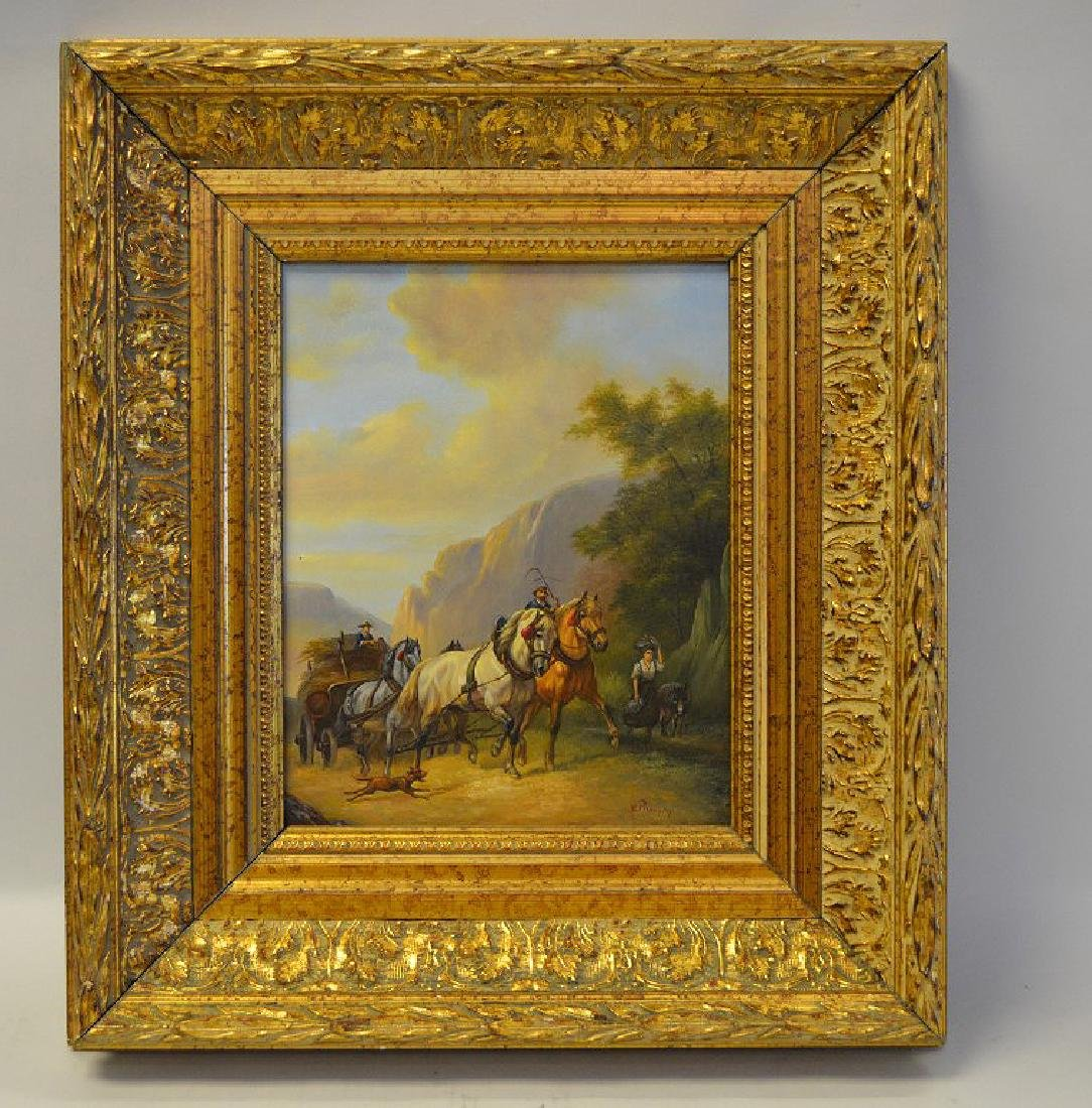 Horse & wagon on mountain trail, oil on panel, signed