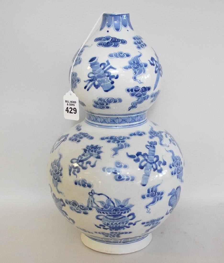 CHINESE PORCELAIN GOURD FORM VASE with blue decoration