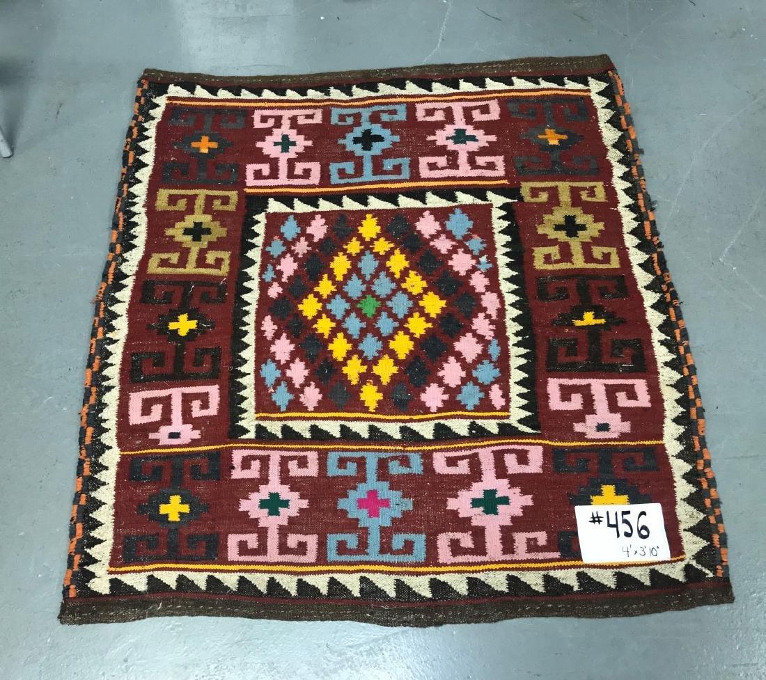 "Semi-Antique Persian Flat Weave Rug 4' x 3' 10"" - 2"