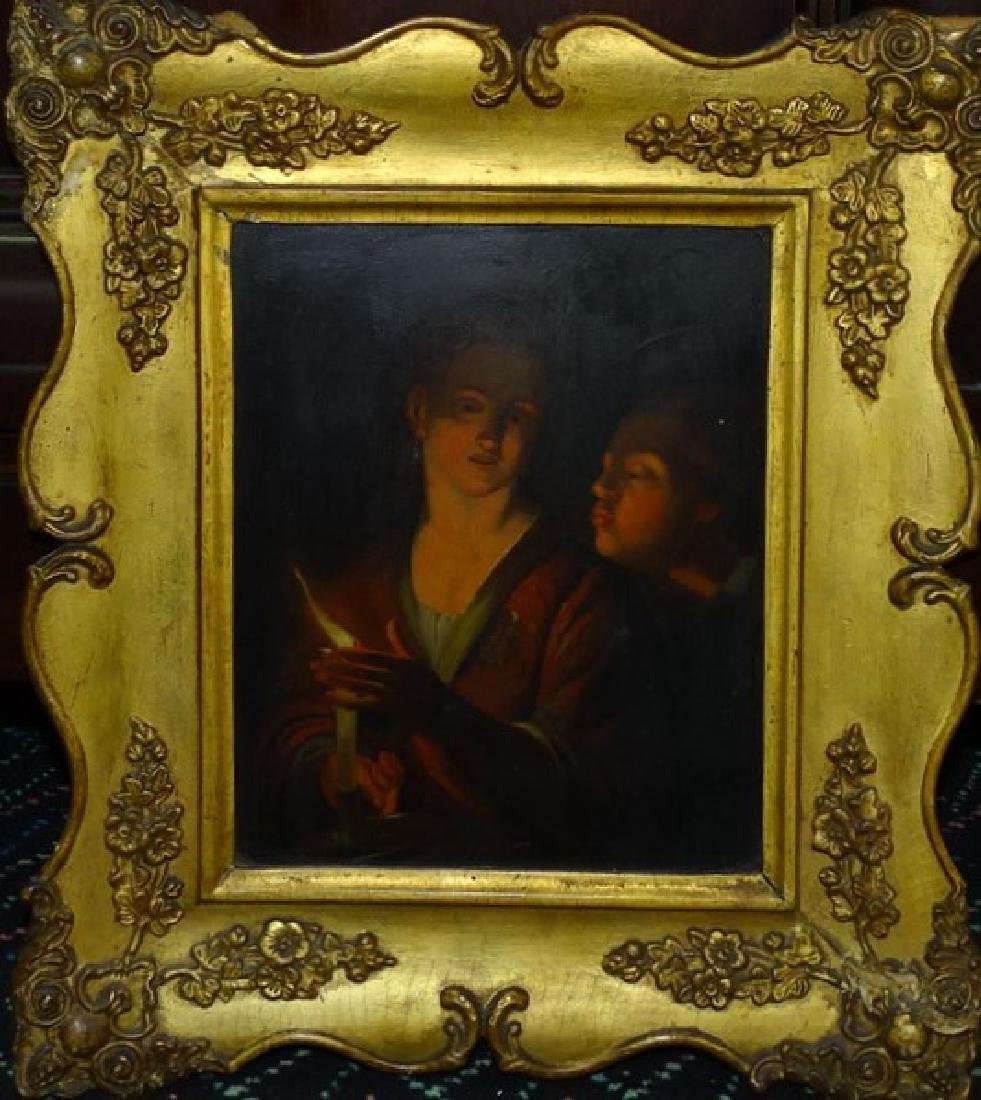 19TH C. CONTINENTAL OIL ON PANEL PORTRAIT PAINTING.