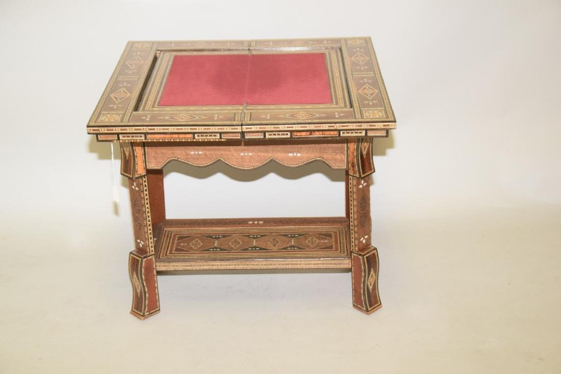 Vintage Carved & Inlaid Wood Games Table.  Condition: