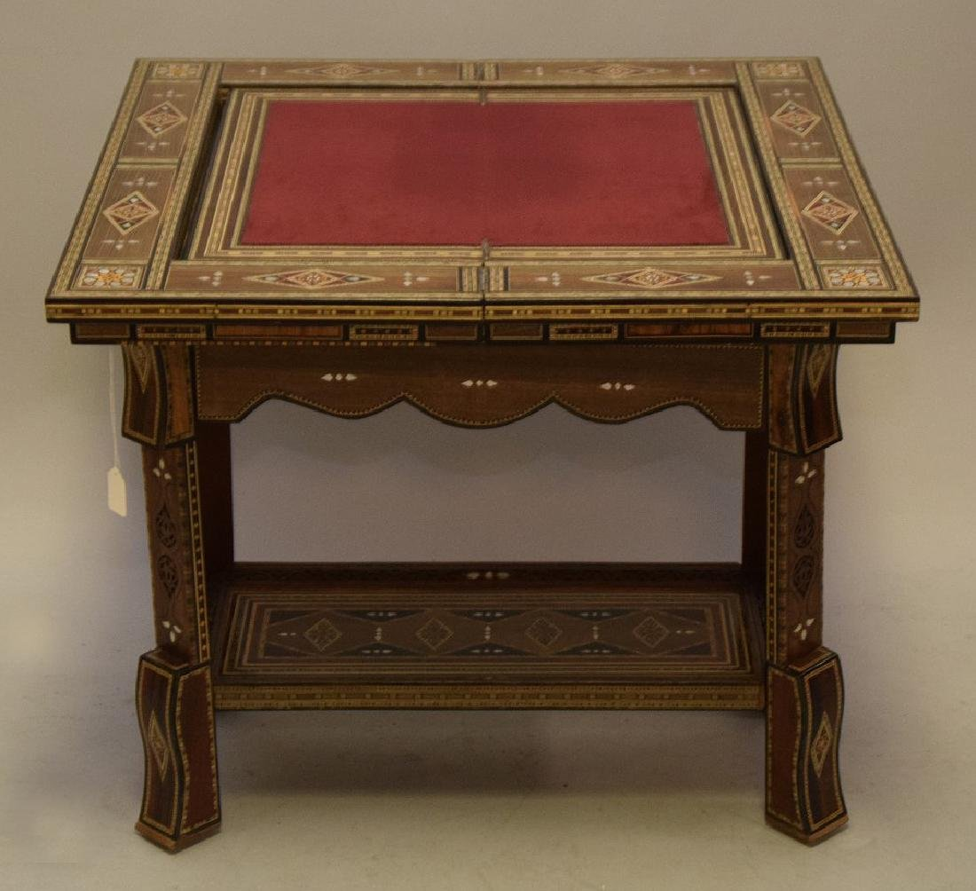 Vintage Carved & Inlaid Wood Games Table.  Condition: - 2