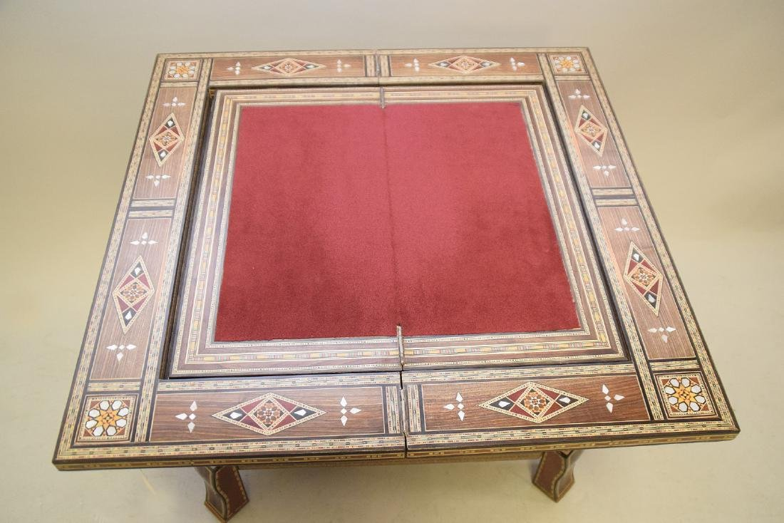 Vintage Carved & Inlaid Wood Games Table.  Condition: - 3