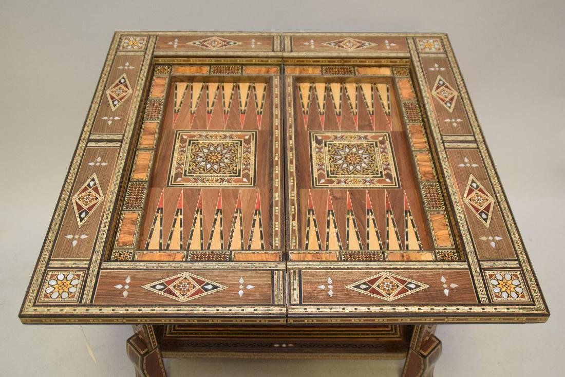 Vintage Carved & Inlaid Wood Games Table.  Condition: - 4