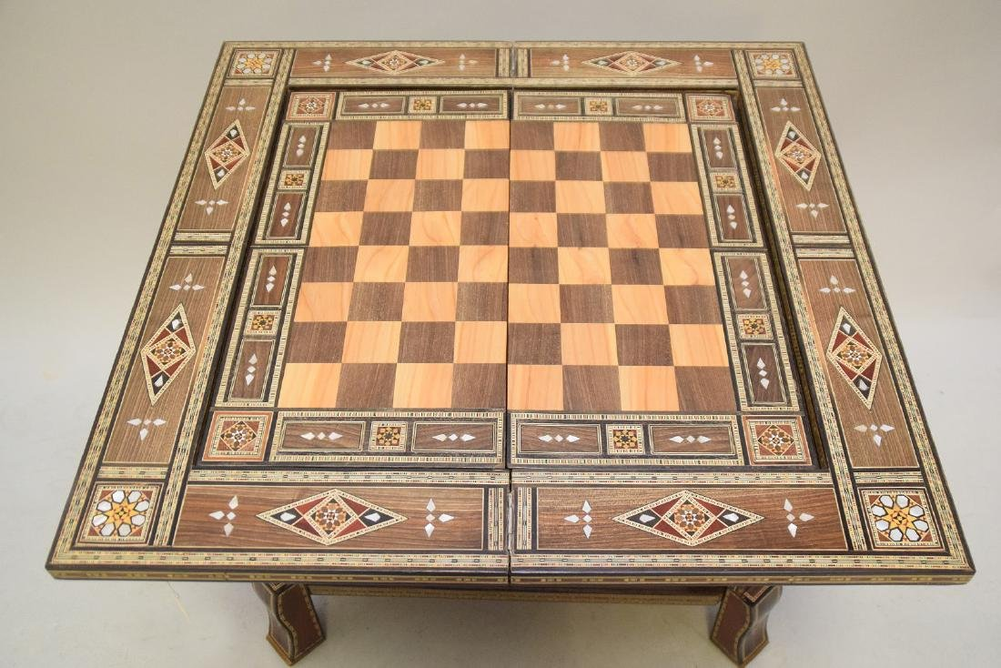 Vintage Carved & Inlaid Wood Games Table.  Condition: - 5