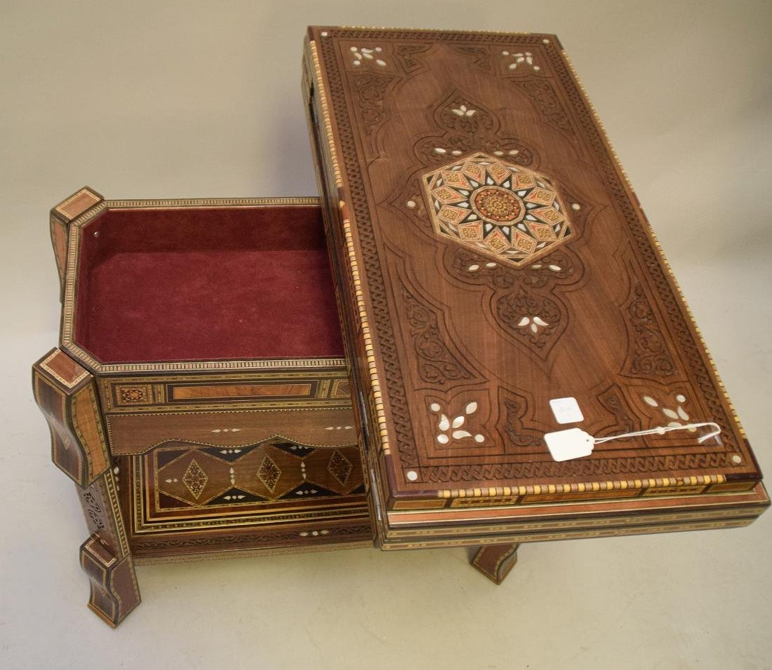Vintage Carved & Inlaid Wood Games Table.  Condition: - 6