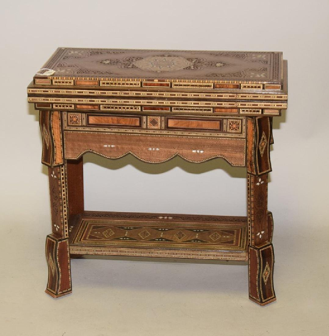 Vintage Carved & Inlaid Wood Games Table.  Condition: - 7