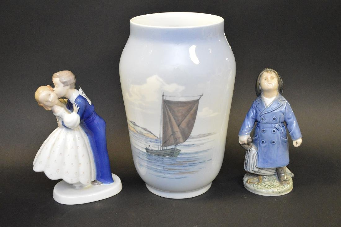 "Royal Copenhagen vase ""seascape"" (10 1/2""h) AND 2"