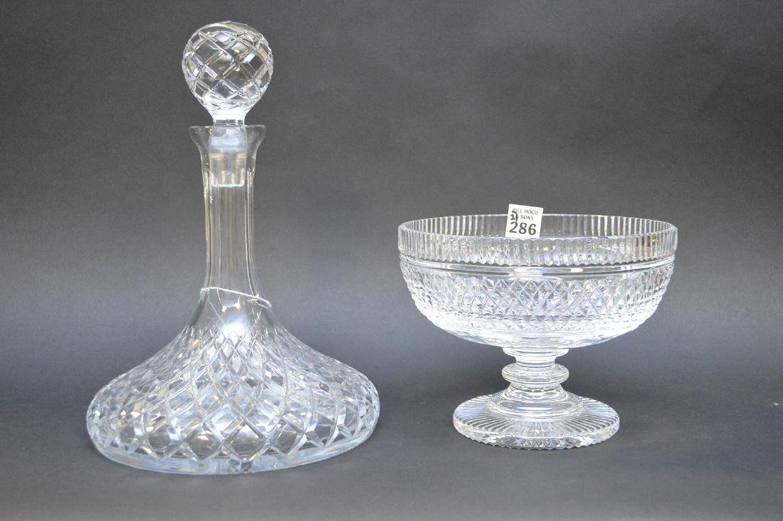 """Waterford footed bowl (5 1/2""""h) and ships decanter (11"""