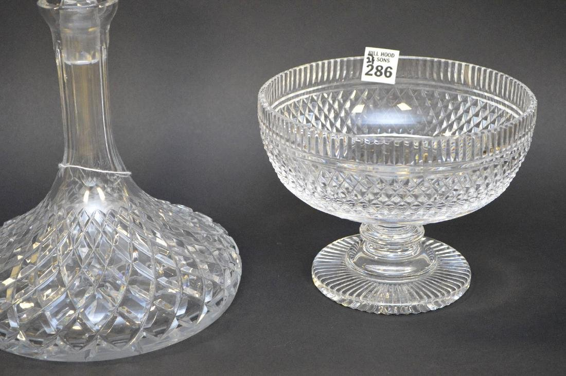 """Waterford footed bowl (5 1/2""""h) and ships decanter (11 - 3"""